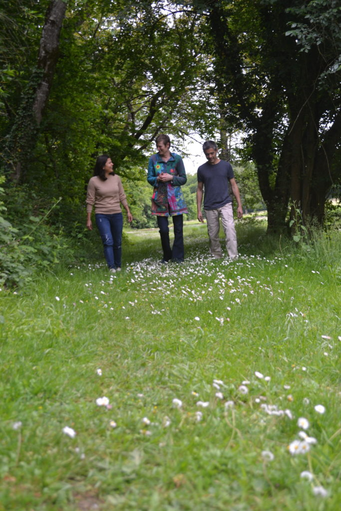 Elba Rodriguez going for a walk with other meditators
